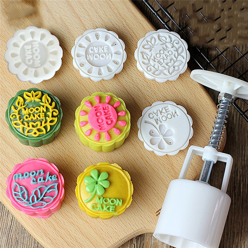 1 Set Flower Chinese Mooncake Mold Moon Cake Press Tools ...