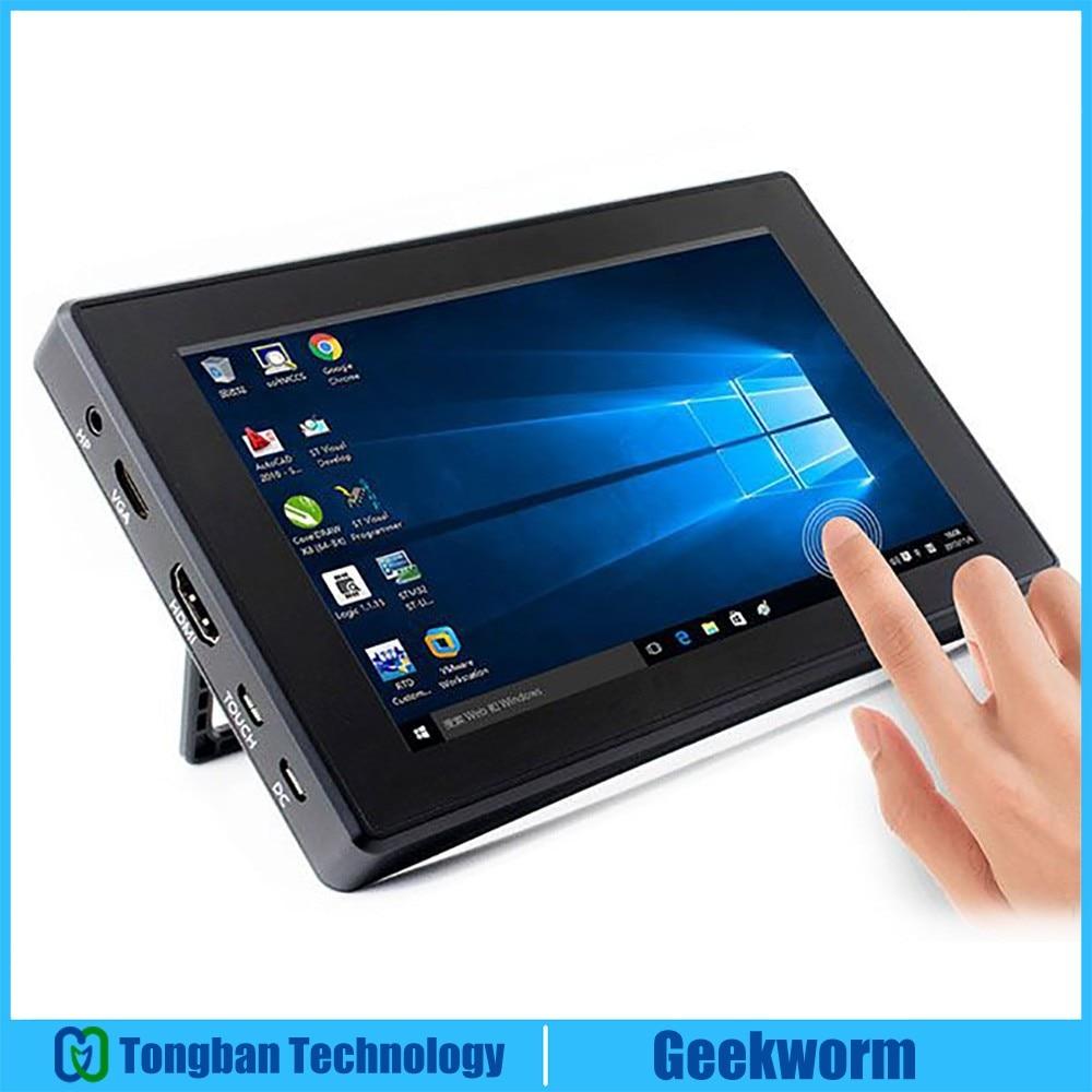 "Raspberry Pi 4 Model B/ 3B+/ 3B 7 Inch 1024x600 IPS Capacitive Touch Screen 7"" Monitor Display W/ Case Bracket OSD Menu"