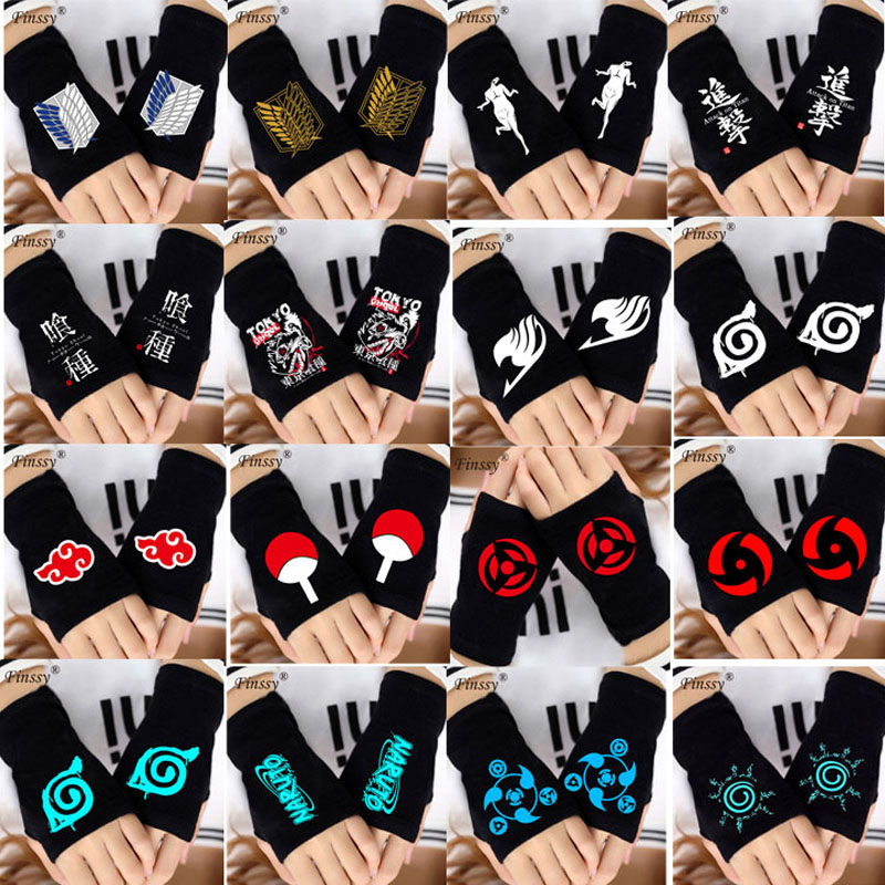 2018 Naruto Fairy Tail Tokyo Ghoul Attack on Titans Fingerless Gloves for Men Women Cosplay Warm Gloves Uchiha Akatsuki LOGO