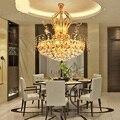 Креативная Золотая хрустальная лампа k9 Европейский ресторан кристалл гостиная подвесные светильники Персонализированная лампа с теплым с...