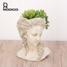 Maceta ROOGO para plantas suculentas, cabeza de elegante diosa griega, maceta para bonsái, Maceta de jardín, artesanías de mano, decoración de escritorio para el hogar