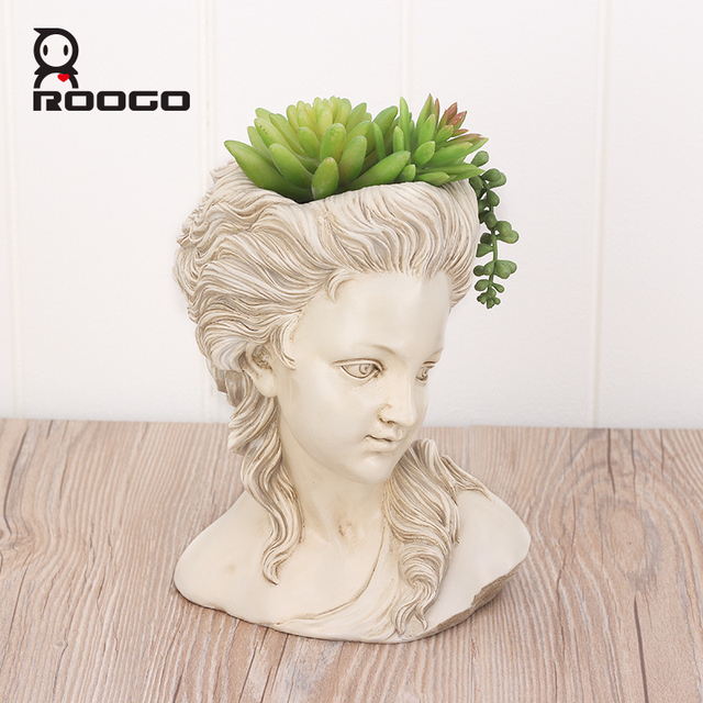 ROOGO succulent plant flower pot the head of elegant Greek goddess bonsai planter garden pot hand crafts home desktop decoration