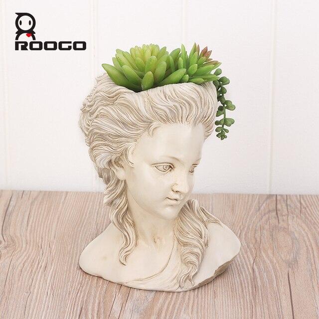 ROOGO thực vật mọng nước hoa đầu thanh lịch nữ Thần Hy Lạp cây cảnh Dụng cụ bào vườn nồi tay thợ thủ công Nhà Máy tính để bàn trang trí