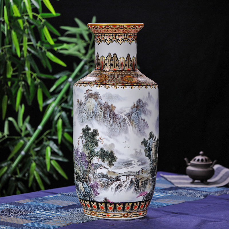 Antique Chinese Rivers and Mountains Floor Vase Jingdezhen Handmade Golden Drawing Large Floor Vase For Home Decor
