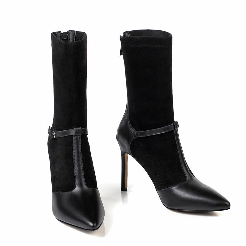 Femmes En Bottines Pointu Talons Stretch Noir Chaussures Bout 2018 Cuir black Haute Troupeau Wetkiss Femme Partie Démarrage Vache Automne De WEeDH9IY2