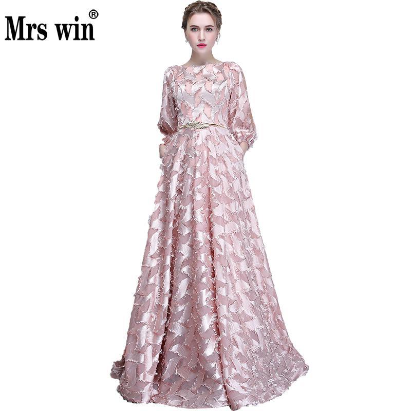 Robe De Soiree Evening Dresses2017 New Long Elegant O-neck Luxury Applique A-line Noble Banquet Party Prom Dress X