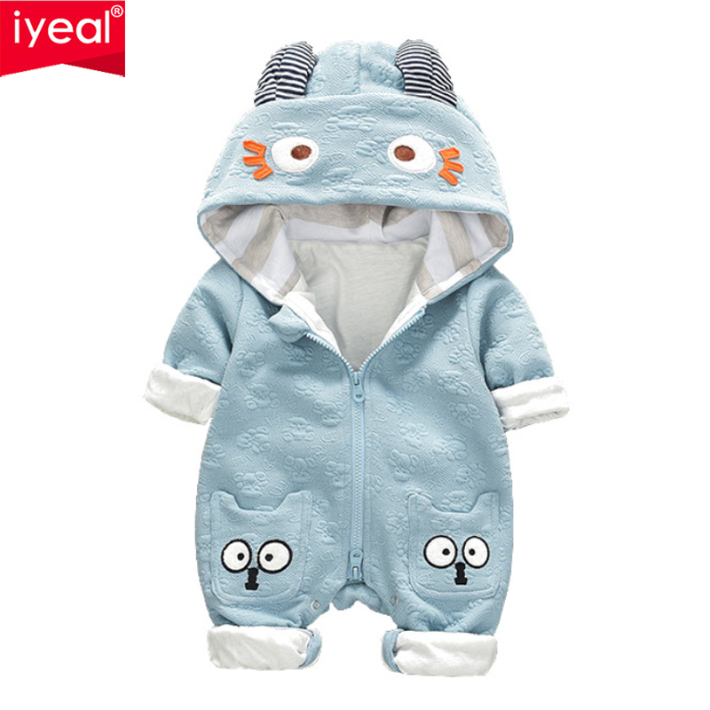 IYEAL Newborn Baby Girls Boys Romper Jumpsuit Long Sleeve Cute Hooded Infant Outfits Spring Autumn Kids Baby Clothes for 0-12M baby girls butterfly long sleeve romper newborn kids 2017 new arrival button jumpsuit outfits clothing for newborns age 3m 3y