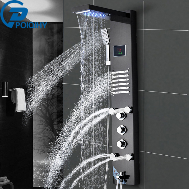 Black Rainfall And Waterfall Bathroom Mixer Tap Shower Panel Dual Handle  With Single Handheld Shower