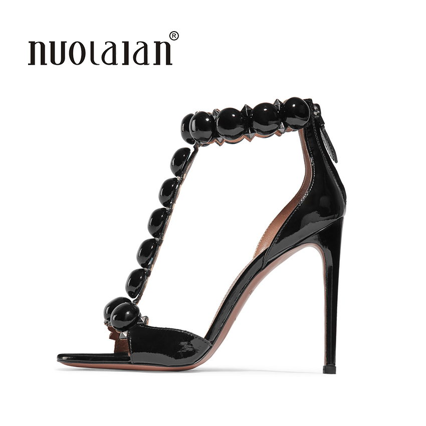 Summer Womens Peep Toe Sandals Sexy Ladies Black Patent Leather High Heels Women Pumps Buckle Strap High Heel Shoes for Woman red patent leather strappy sandals cut out ankle strap buckle high heel shoes peep toe cage shoes women summer dress shoes