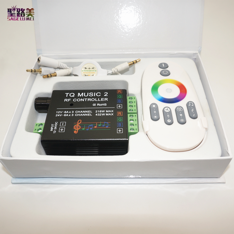 DC12-24V 18A RF Remote RGB Led Strip Music 2 Controller Intelligent Sonic Sensitivity Audio Control For 3528 5050 5630 Led Light
