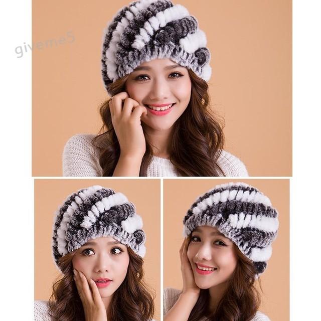 ¡ Promoción! 2014 Sombreros de Las Mujeres de Invierno de Alta Calidad Real de Piel de Conejo Oreja Gorra de Esquí Sombrero de 30