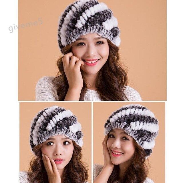 Promotion !2014 Women Hats Winter High Quality Real Rabbit Fur Ear Ski Cap Hat 30