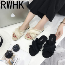 RWHK Slippers female summer 2019 new fashion candy color wear cuff feathers slippers flat bottom B496