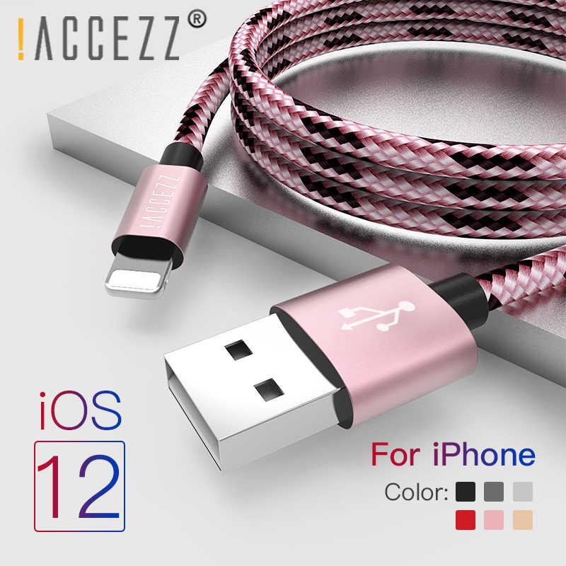 ¡! Cable USB de nailon ACCEZZ para Apple Cable de sincronización de datos de carga rápida para iPhone X 7 6 8 5 Plus XR cables de cargador de teléfono móvil XS MAX