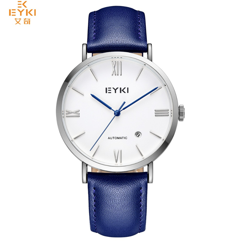 EYKI Men Watches Brand New Luxury Automatic Date Blue Men Casual Fashion Clock Waterproof Genuine Leather Mechanical Wrist Watch стоимость