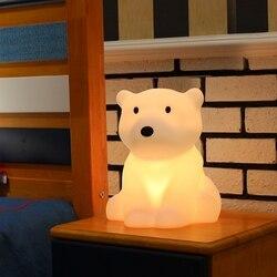 Eisbär LED Nacht Licht Swivel Dimmbare Roman Geschenk für Kinder Schlafen Warme Weiß Baby Lampe Silikon Indoor Dekoration Licht