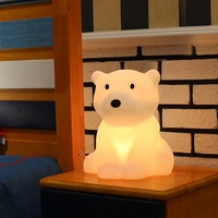 Polar Bear LED Night Light Swivel Dimmable Novel Gift for Kids Sleeping Warm White Baby Lamp Silicone Indoor Decoration Light