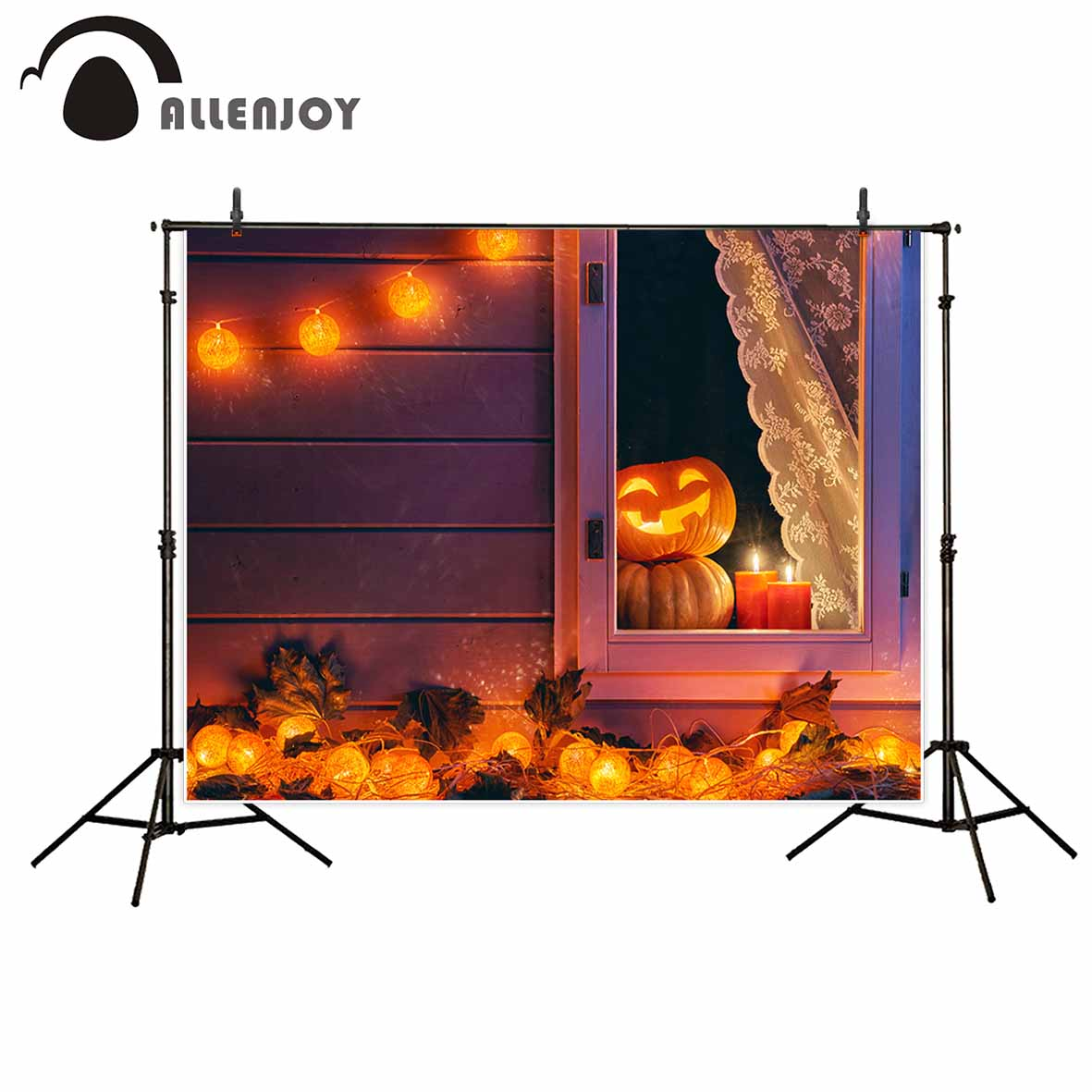 Allenjoy photographic background Lantern Thriller Pumpkin Light Candle Halloween Photographic photocall for study Photo backdrop