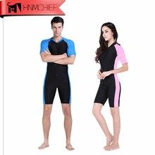 بذلة غطس جديدة من الليكرا موضة 2017 بدل غطس للرجال أو النساء من قطعة واحدة بأكمام قصيرة بدلة سباحة ملابس شاطئ