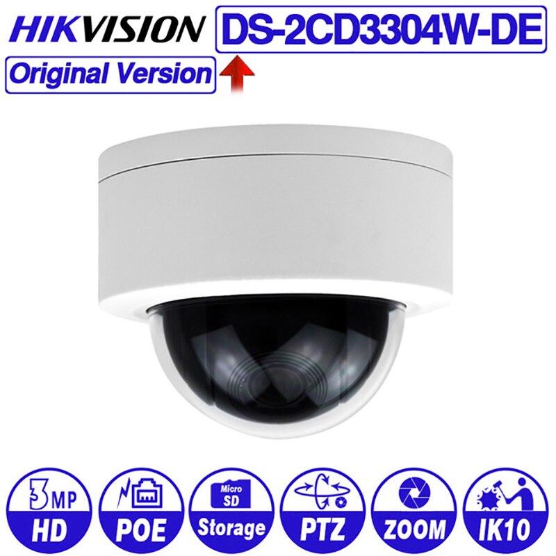 Hikvision Original PTZ IPC DS-2DE3304W-DE 3MP IP réseau Mini caméra dôme 4X Zoom optique prise en charge Ezviz vue à distance Audio e/s