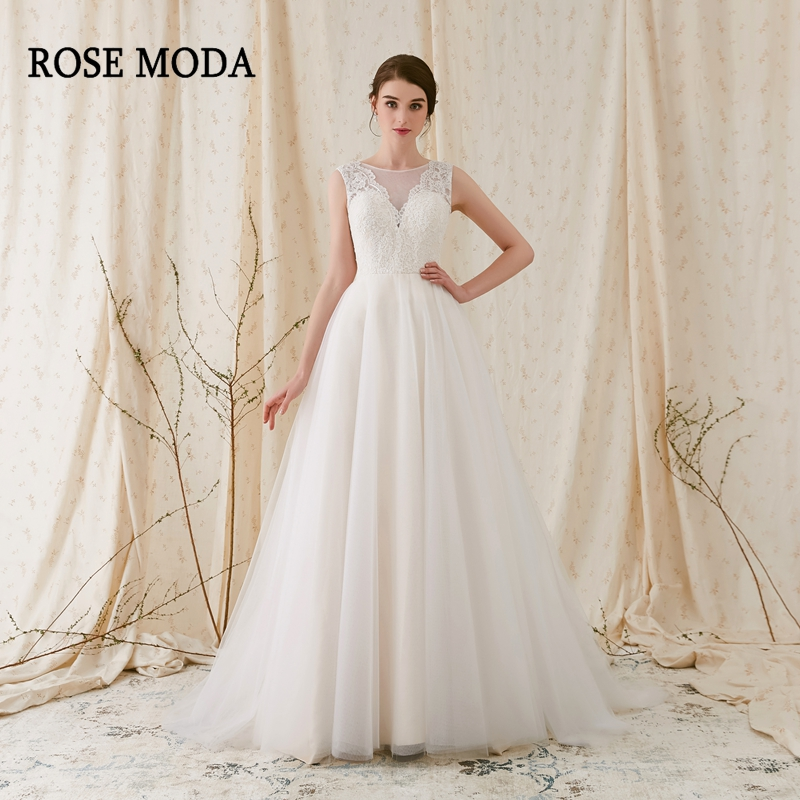 Rose Moda Cap Sleeves Princess Tulle Wedding Dress Bridal Gown Lace ...