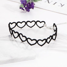 2018 New Beautiful Fabric Hollow Out Heart Summer Beach Black Short Chokers Necklaces Retail And Wholesale Free shipping(China)