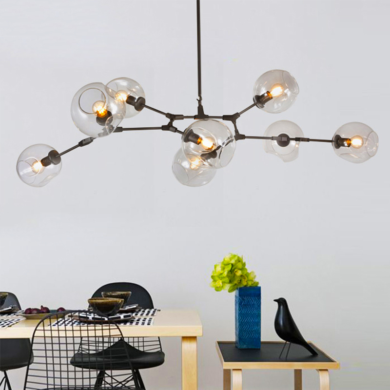 branching bubble ceiling lights retro loft vintage clear smoke amber glass hanging suspension. Black Bedroom Furniture Sets. Home Design Ideas