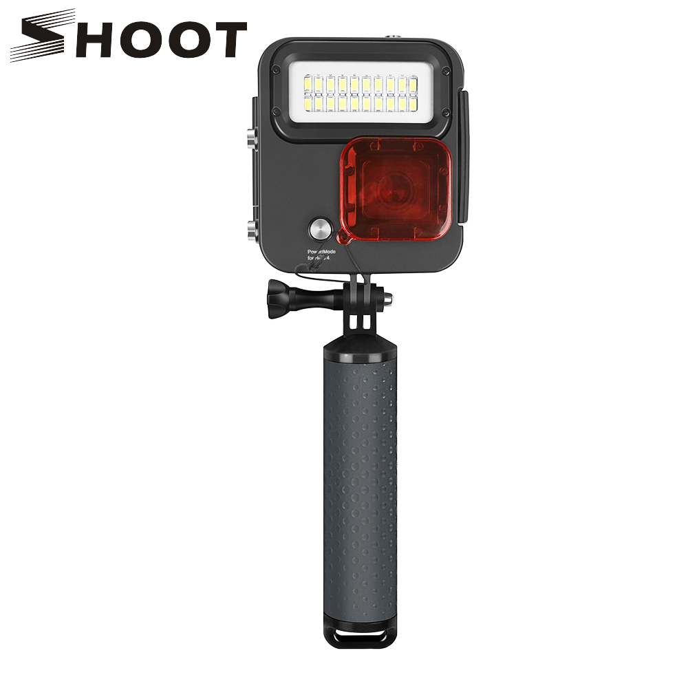 SHOOT Diving LED Light Waterproof Case Mount for GoPro Hero 6 5 7 Silver Black Action