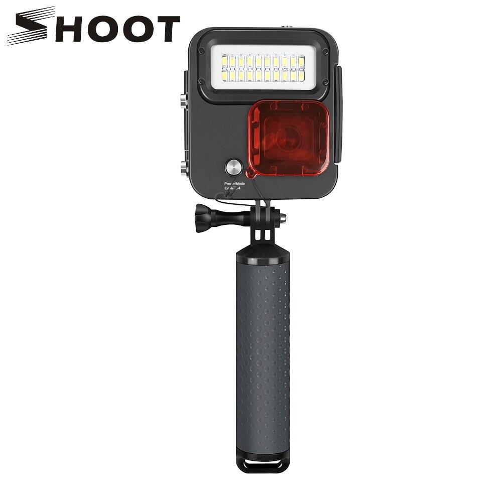 SHOOT lumière LED de plongée étanche boîtier de montage pour GoPro Hero 6 5 7 argent noir caméra d'action pour Go Pro Hero 6 5 7 accessoires