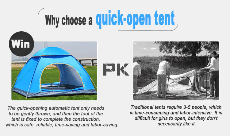 Automatic Pop Up Outdoor Family Camping Tent 1 2 3 4 Person Multiple Models Easy Open Camp Tents Ultralight Instant Shade