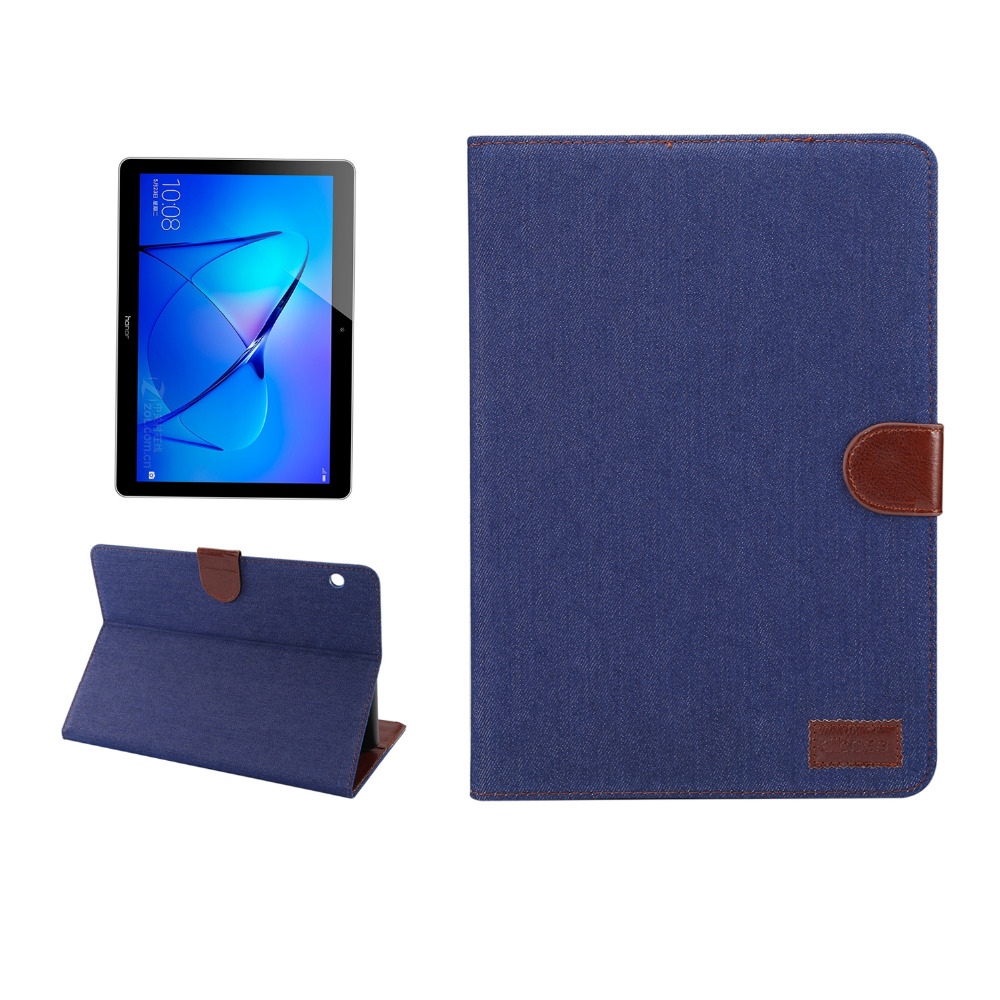 Denim Smart Flip Stand PU Leather Case For Huawei MediaPad T3 10 AGS-L09 AGS-L03 9.6 inch Tablet Card Holder Wallet Book Cover mediapad m3 lite 8 0 skin ultra slim cartoon stand pu leather case cover for huawei mediapad m3 lite 8 0 cpn w09 cpn al00 8