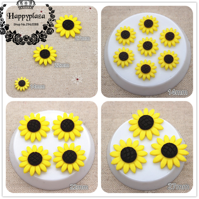 14mm/22mm/27mm Resin Sunflower Flatback Cabochon DIY Craft/Jewelry/Phone Decoration