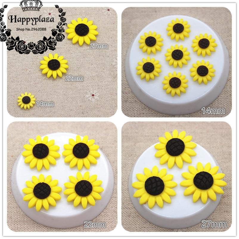 14mm/22mm/27mm Resin Sunflower Flatback Cabochon DIY Craft/Jewelry/Phone Decoration