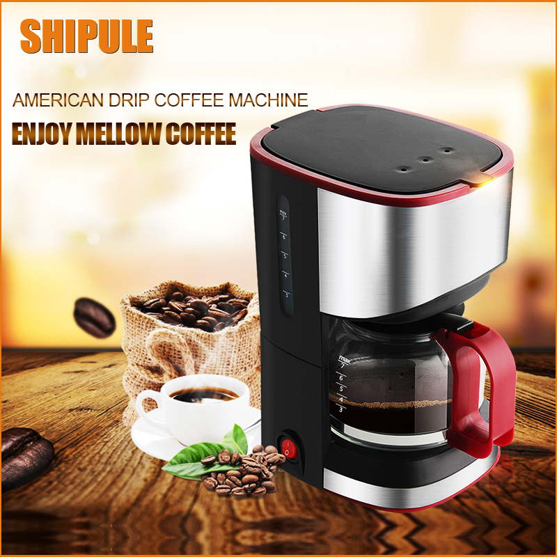 SHIPULE Free Shipping High-quality Automatic Electric Coffee Maker 7 Cups Espresso White Drip Coffee Machine american coffee maker uses a drip automatic machine