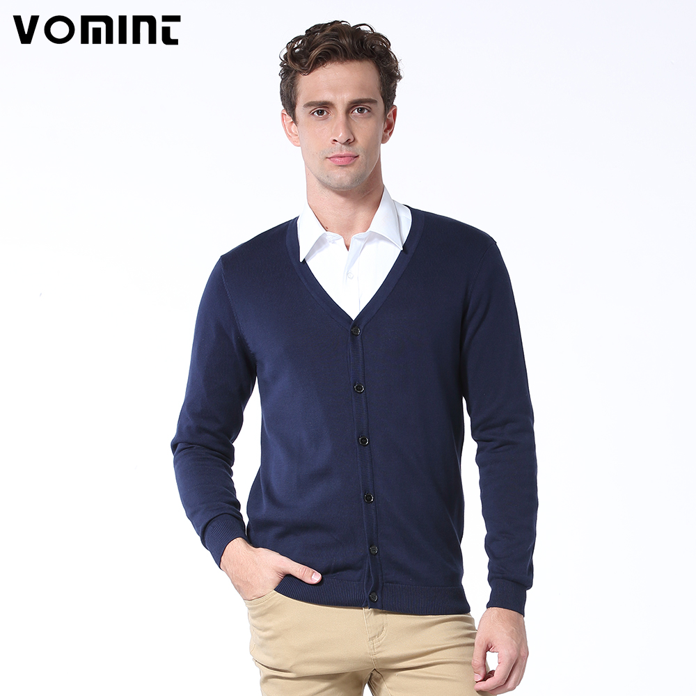 Vomint Basic Mens Cardigans Sweater Solid O-neck Knitted Cotton Fabric All Match Wear Multi Color Regular Fit U6PI6837