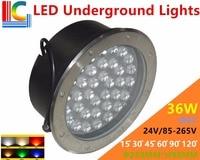 36W LED Underground Lamps 12V 24V 110V 220V 85-265V Outdoor IP67 Waterproof Buried lights DMX512 Color Garden Lighting CE