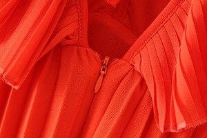 Image 5 - Vadim 女性 orange マキシドレスプリーツフリルノースリーブ背中の女性のカジュアルな甘いドレスシックな蝶ネクタイ a ライン vestidos QB506