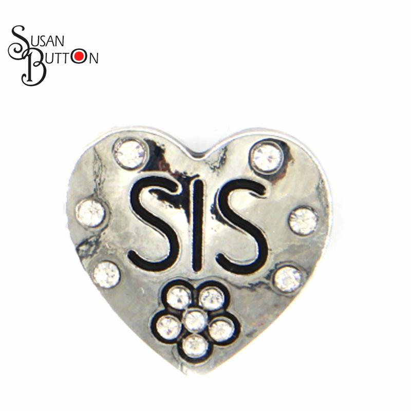 12pcs lot Metal SIS Sister Snap Charms Rhinestone Grass Green Heart Snap  Ginger Charms Jewelry 59f81c3d63f6