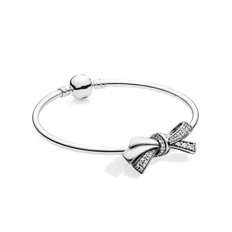 7d9671de6 ... usa 11 brilliant bow with clear cz pandora bangle mother day 925  sterling silver original fit