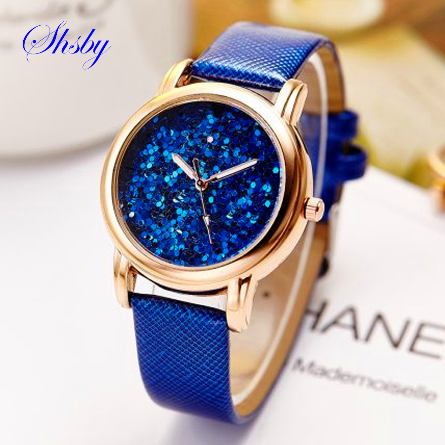 shsby nieuwe babysbreath Leren riem montre femme Casual horloge Dames Strass Pols Quartz Horloge kleurrijke Dameshorloges