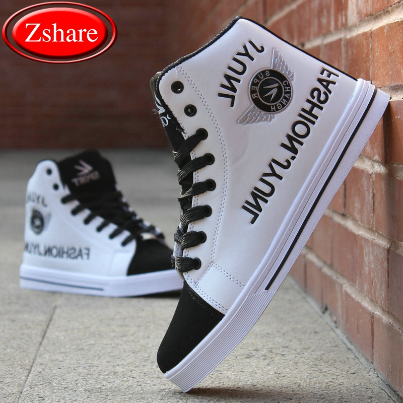 Men High Help Korean Hip Hop Shoes 2019 New Fashion Top Casual For PU Leather Lace Breathable