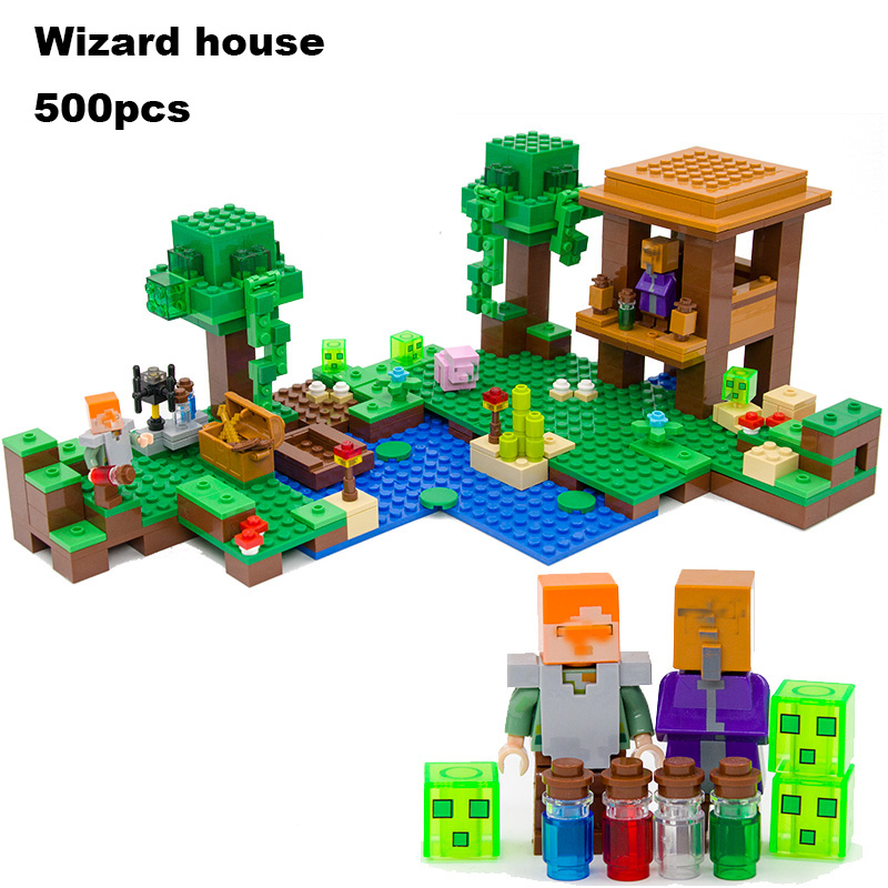 Model building kits compatible with lego 21133 18027 my worlds MineCraft The Witch Hut Educational toys hobbies for children model building kits compatible with lego the sky dragon my worlds minecraft 548 pcs model building toys hobbies for children