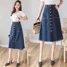 Woman Spring Plus Size Denim Skirt 2019 Korean Style Woman High Waist Knee-length Button A Line Denim Midi Skirt Harajuku Skirts