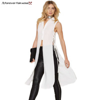 2016 Summer New Women S Sleeveless Shirt Lapel Openwork Sides Split Fashion Casual White Women Shirt