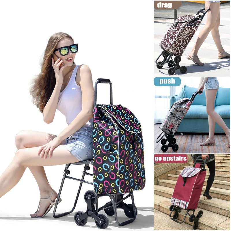 Home Climb Stairs Shopping <font><b>Cart</b></font> with Waterproof Bag, Household Trolly with seat, Steel Frame Shopping <font><b>Cart</b></font>, Pull Rod <font><b>Cart</b></font>