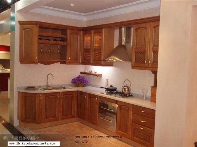Gabinete de cocina de estilo europeo de madera maciza (LH SW025) en ...