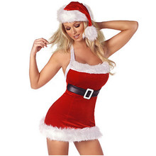 2017 New Adult Girls Xmas Red dress white flash Velvet Santa Claus Party Outfit high quality Sexy Christmas Fancy Dress Women