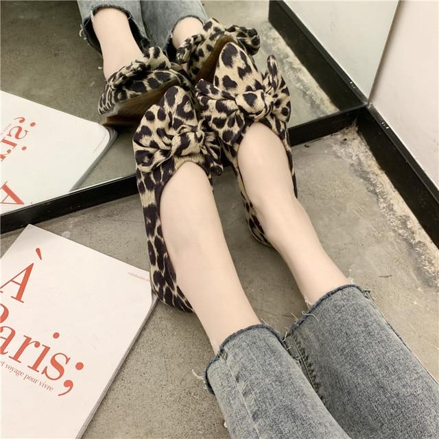 COOTELILI/обувь на плоской подошве Женские туфли-лодочки без шнуровки острый носок весенние туфли для женские лоферы Леопардовый бант
