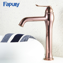 Fapully Water Tap Bathroom Basin Faucet Luxury Rose Gold Faucets Counter Top Lavabo Wash Basins Tall Mixers Crane 587-22R