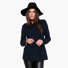 New Fashion 2016 Women's Winter woolen coat POLO collar Double Breasted casaco feminino wool slim casual jacket abrigos mujer